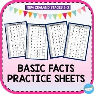 Basic facts maths practice worksheets created by Fluffy Clouds